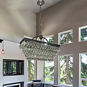 60W Crystal Beaded Pendant with 3 Lights and Cubic Fixture