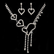 Heart Style Rhinestones Ladies' Jewelry Set Including Necklace And Earrings