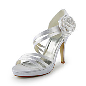 Gorgeous Satin Stiletto Heel Sandaler med blomma Wedding Shoes (Fler frger)