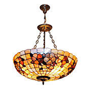 120W clssico Tiffany Pendant Light com a Natureza Shell Material Sombra Integrado (Cadeia ajustvel)