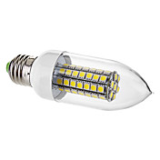 E27 7W 63x5050SMD 650LM 6000-6500K Natural White Light LED Candle Bulb (220V)