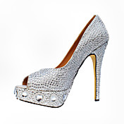 Prachtige Suede naaldhak peep toe met strass party / avond schoenen