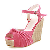 Chic Suede Wedge Heel Sandals With Ruffles Party / Evening Shoes (More Colors)