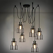 360W Retro Pendant Light with 6 Lights and Metal Frame