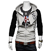 Man's Slim Cotton Contrast Color Hoodie with Cap(Assorted Colors)