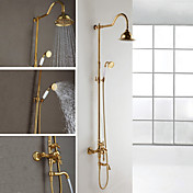 Ti-PVD Finish Wall Mount Contemporary Brass Shower Faucets