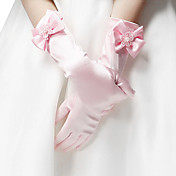Delicate Satin Fingertips Elbow Length Flower Girl Gloves(More Colors)