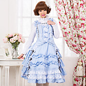Sleeveless Knee-length Blue Cotton Princess Lolita Dress