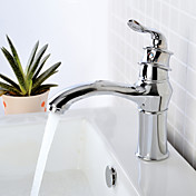 Contemporary Chrome Finish Single Handle Bathroom Sink Faucets