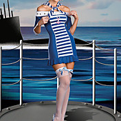 Cute Girl Blue and White Stripes Dress Naval Uniform (4 Pieces)