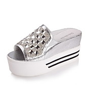 Stylish Leather Platform Heel Slippers With Rhinestone Party/Evening Shoes(More Colors)