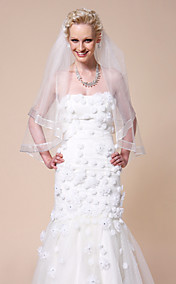 One-tier Fingertip Wedding Veils With Ribbon Edge