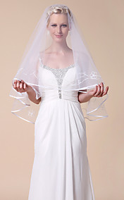 One-tier Tulle Fingertip Wedding Veils With Ribbon Edge