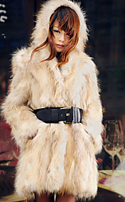 Long Sleeve Raccoon Fur Party/Office/Casual Coat With Belt/Pockets