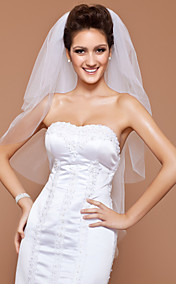 Three-tier Tulle Fingertip Wedding Veil With Cut Edge (More Colors Available)