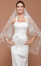 One-tier Tulle Fingertip Wedding Veil With Embroidery (More Colors Available)