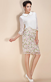 TS Vintage Pan Collar Flower Printed Blouse and Skirt Set