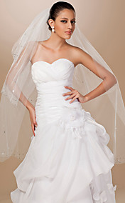 Three-tier Tulle Cut Edge Fingertip Wedding Veil
