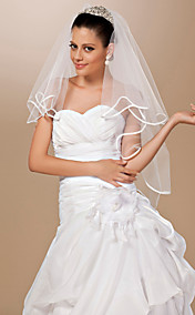 Two-tier Tulle Ribbon Edge Elbow Wedding Veil With Rhinestones