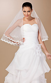 One-tier Tulle Lace Applique Edge Elbow Wedding Veil