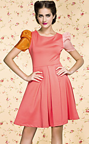 TS VINTAGE Contrast Color Ruffle Dress