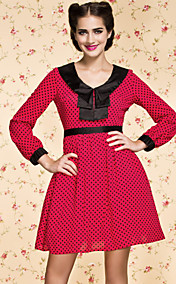 TS VINTAGE Contrast Color Polka Dot Dress