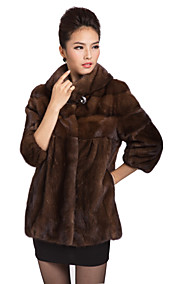Gorgeous 3/4 Sleeve Mink Fur Turndown Collar Evening/Casual Mink Fur Coat