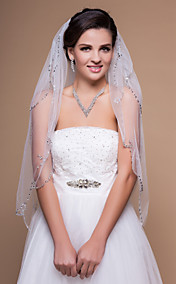 Two-tier Fingertip Wedding Veil With Beaded/Scalloped Edge