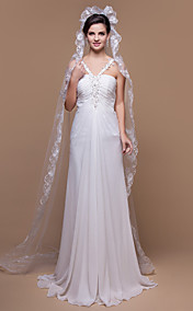 One-tier Chapel Wedding Veils With Lace Applique/Finished Edge (More Colors)
