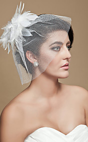 Gorgeous White Feather With Rhinestones/ Tulle Wedding Bridal Headpiece