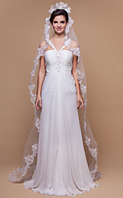 One-tier Chapel Wedding Veils With Scalloped/Lace Applique Edge (More Colors)
