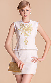TS Gold Embroidery Round Neck Suit Style Sleeveless Sheath Dress