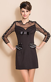 TS Round Neck Beads On Sleeve Bow Slim Mesh Dress