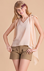 TS Beads On Shoulder V Neck Vest Blouse