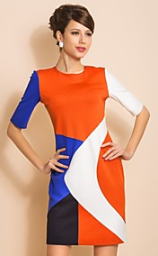 TS Contrast Color Slim Fit Jersey Orange Dress