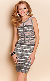 TS Mesh Splicing Jacquard Slim Vest Bodycon Bandage Dress