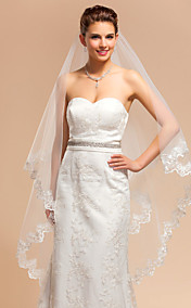 Elegant One-tier Waltz Wedding Veil With Lace Applique Edge