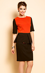 TS Sleeveless Color Block Gather Sheath Dress