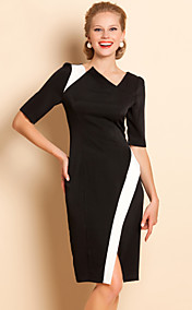 TS Asymmetrisk Collar Contrast Color Jersey Dress
