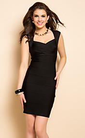 TS Plunging Neckline Vest Bodycon Bandage Dress With Peplum