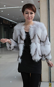 3/4 Sleeve Fox Fur Casual/Party Jacket