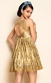 Ts Gouden Kant backless Swing Dress