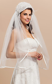 Beautiful Two-tier Elbow Ribbon Edge Wedding Veils With Bead