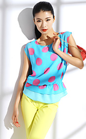 TS Silky Contrast Color Dots Blouse