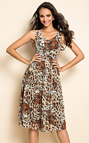 TS Leopard Print Pleats Dress