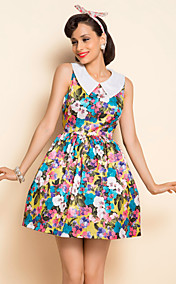 TS VINTAGE Print Lapel Dress