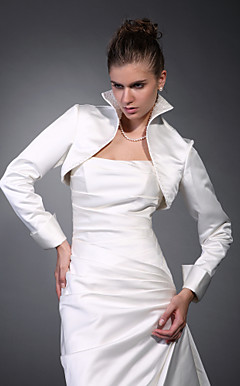 langen rmeln Satin Braut-Jacke / Hochzeit Wrap