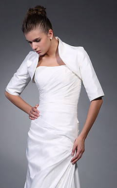 3/ 4-Length Sleeves Satin Bridal Jacket/ Wedding Wrap