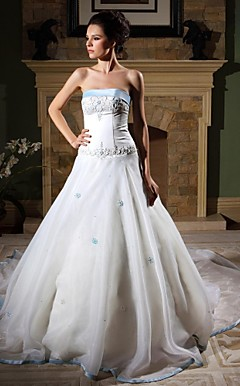A-line Strapless Chapel Train Organza Satin Wedding Dress