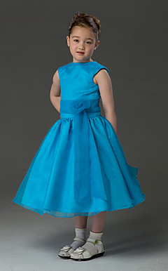 Ball Gown Jewel Tea-length Organza Over Taffeta Flower Girl Dress